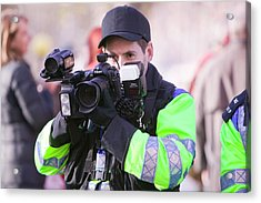 Police Photographing Protestors Acrylic Print by Ashley Cooper