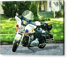 Police - Police Motorcycle Acrylic Print by Susan Savad