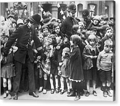 Police Restraining Children Acrylic Print by Underwood Archives