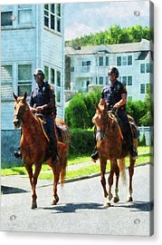 Police - Two Mounted Police Acrylic Print by Susan Savad