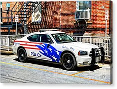 Police Vehicle Only Acrylic Print by Mel Steinhauer