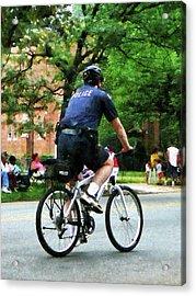 Policeman - Police Bicycle Patrol Acrylic Print by Susan Savad