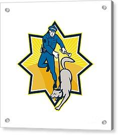 Policeman Police Dog Canine Team Acrylic Print by Aloysius Patrimonio