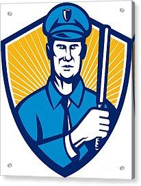 Policeman Police Officer Baton Shield Retro Acrylic Print by Aloysius Patrimonio