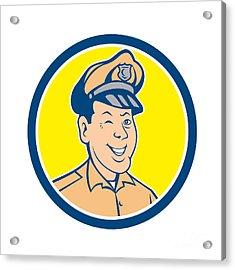Policeman Winking Smiling Circle Cartoon Acrylic Print by Aloysius Patrimonio