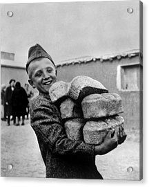 Polish Youngster With Bread Made Acrylic Print by Everett