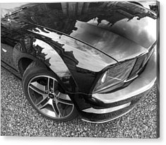 Polished To Perfection - Mustang Gt In Black And White Acrylic Print