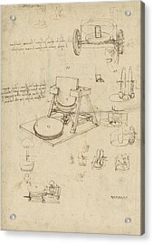 Polishing Machine Formed By Two Wheeled Carriage From Atlantic Codex Acrylic Print by Leonardo Da Vinci