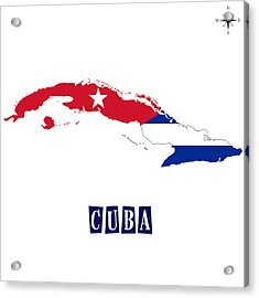 Political Map Of Cuba Acrylic Print by Celestial Images