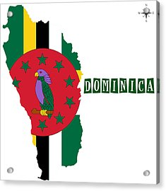 Political Map Of Dominica Acrylic Print by Celestial Images