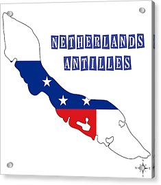 Political Map Of Netherlands Antilles Acrylic Print by Celestial Images