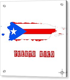 Political Map Of Puerto Rico Acrylic Print by Celestial Images