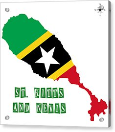 Political Map Of St Kitts And Nevis Acrylic Print by Celestial Images