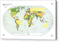 Political Map Of The World, 2012 Acrylic Print