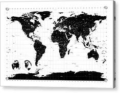 Political World Map Acrylic Print by Michael Tompsett