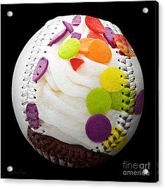 Polka Dot Cupcake Baseball Square Acrylic Print