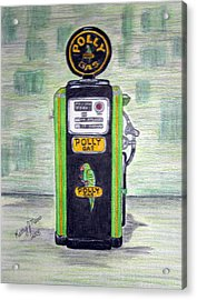 Acrylic Print featuring the painting Polly Gas Pump by Kathy Marrs Chandler