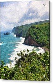 Pololu Valley Beach Acrylic Print