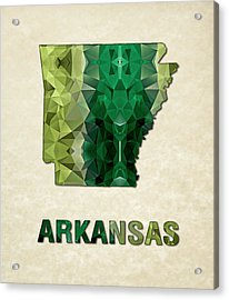 Polygon Mosaic Parchment Map Arkansas Acrylic Print by Elaine Plesser