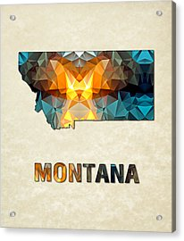 Polygon Mosaic Parchment Map Montana Acrylic Print by Elaine Plesser