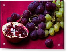 Pomegranate And Green And Red Grapes Acrylic Print by Alexander Senin
