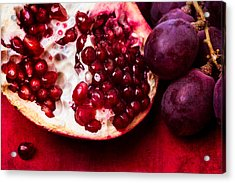 Pomegranate And Red Grapes Acrylic Print by Alexander Senin