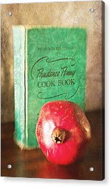 Pomegranate And Vintage Cook Book Still Life Acrylic Print