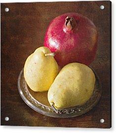 Pomegranate And Yellow Pear Still Life Acrylic Print