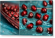 Pomegranate Collage Acrylic Print by Nailia Schwarz