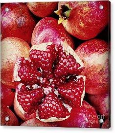 Pomegranate Star Acrylic Print by Leyla Ismet
