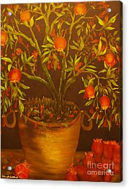 Pomegranate Tree Of Love-original Sold- Buy Giclee Print Nr 28 Of Limited Edition Of 40 Prints   Acrylic Print
