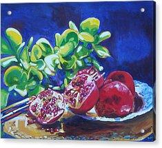 Pomegranates And Jade Acrylic Print by Susan Duda