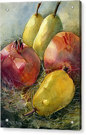 Pomegranates And Pears Acrylic Print by Jen Norton