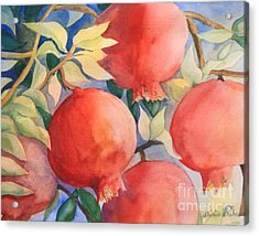 Acrylic Print featuring the painting Pomogranates by Shirin Shahram Badie