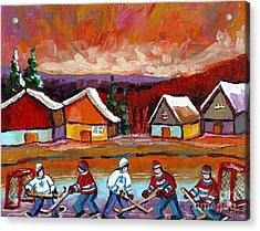 Pond Hockey Game 2 Acrylic Print by Carole Spandau