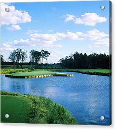 Pond In A Golf Course, Carolina Golf Acrylic Print by Panoramic Images