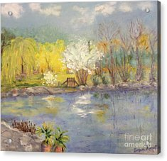 Pond In Ulm Germany In Spring Acrylic Print