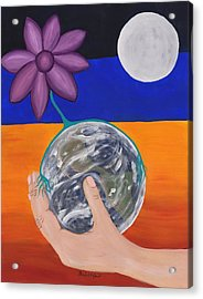 Pondering Creation Hand And Globe Acrylic Print by Barbara St Jean