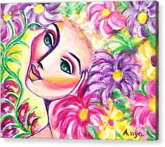 Acrylic Print featuring the painting Pondering In A Garden by Anya Heller