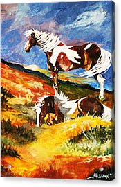 Acrylic Print featuring the painting Ponies At Sunset by Al Brown