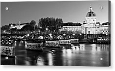 Acrylic Print featuring the photograph Pont Des Arts At Night / Paris by Barry O Carroll