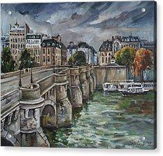 Pont Neuf At Dusk Acrylic Print