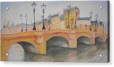 Pont Neuf Et Ile De La Cite, 2010 Oil On Canvas Acrylic Print