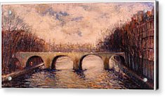 Acrylic Print featuring the painting Pont Sur La Seine by Walter Casaravilla