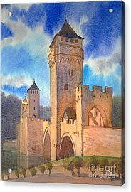 Pont Volontre Cahors France Acrylic Print by Katia Weyher