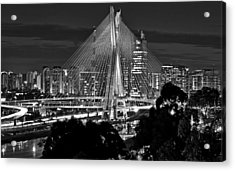 Sao Paulo - Ponte Octavio Frias De Oliveira By Night In Black And White Acrylic Print