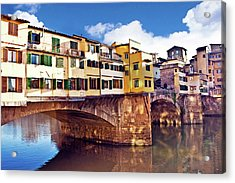 Ponte Vecchio And Arno River, Florence Acrylic Print by Miva Stock