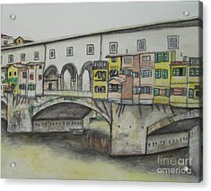 Acrylic Print featuring the painting Ponte Vecchio Florence Italy by Malinda  Prudhomme