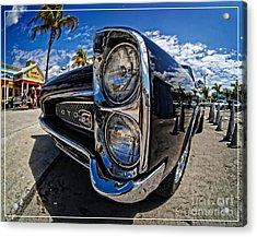 Pontiac Gto Convertible Ft Myers Beach Florida Acrylic Print by Edward Fielding