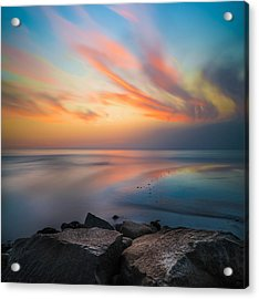 Ponto Jett Sunset - Square Acrylic Print by Larry Marshall